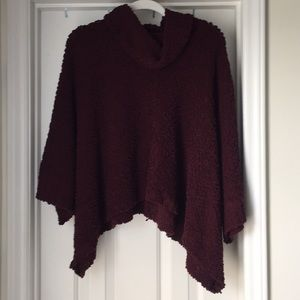 Burgundy Sweater Poncho